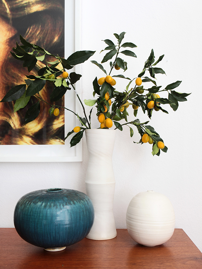 Emily Henderson features my stacked modern vase in her 4 ways design series, Mid-Century Modern Casual credenza styling